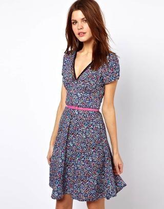 Warehouse Bright Floral Tea Dress at ASOS
