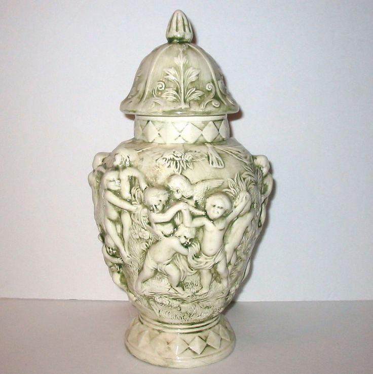 Vtg 1973 Ceramic Hand Decorated Glazed Cherub Angels ...