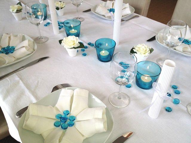 déco de table bleu et blanc