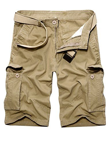 Menschwear Mens Cotton Cargo Shorts Multi Pockets Relaxed Fit with Belt (40,Khaki)