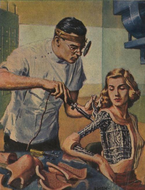 Robot Woman  Vintage Future - Retro Futurism - Vintage Sci Fi  - Atomic Age - Space Age