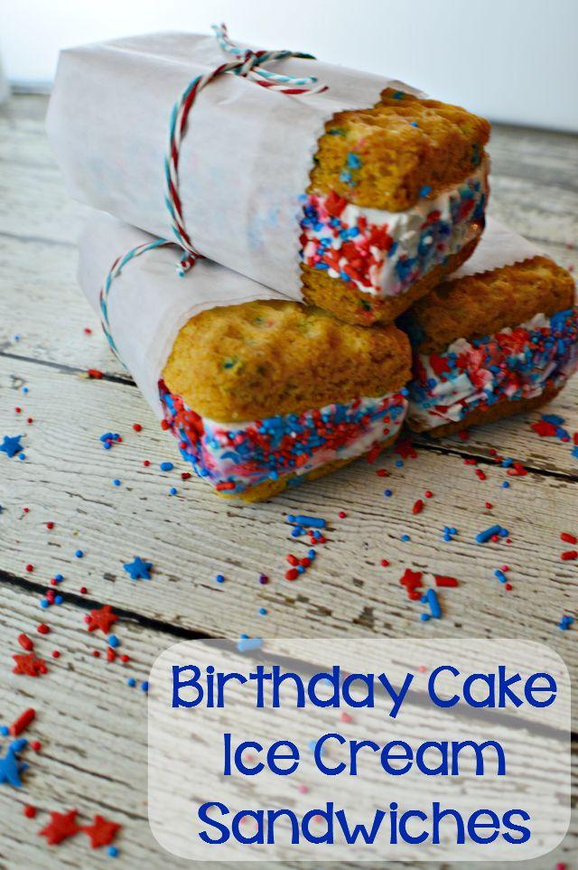 Birthday Cake Funfetti Ice Cream Sandwiches