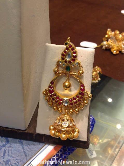 Gold Ruby Chandbali with Jhumka