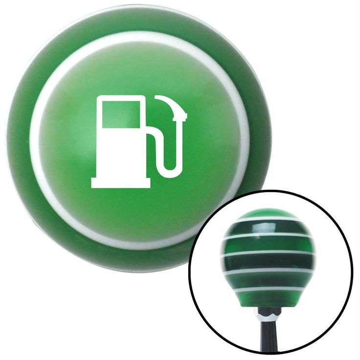White Gas Station Tank Green Stripe Shift Knob with M16 x 15 Insert