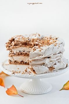 Cinnamon and hazelnut meringue cream cake