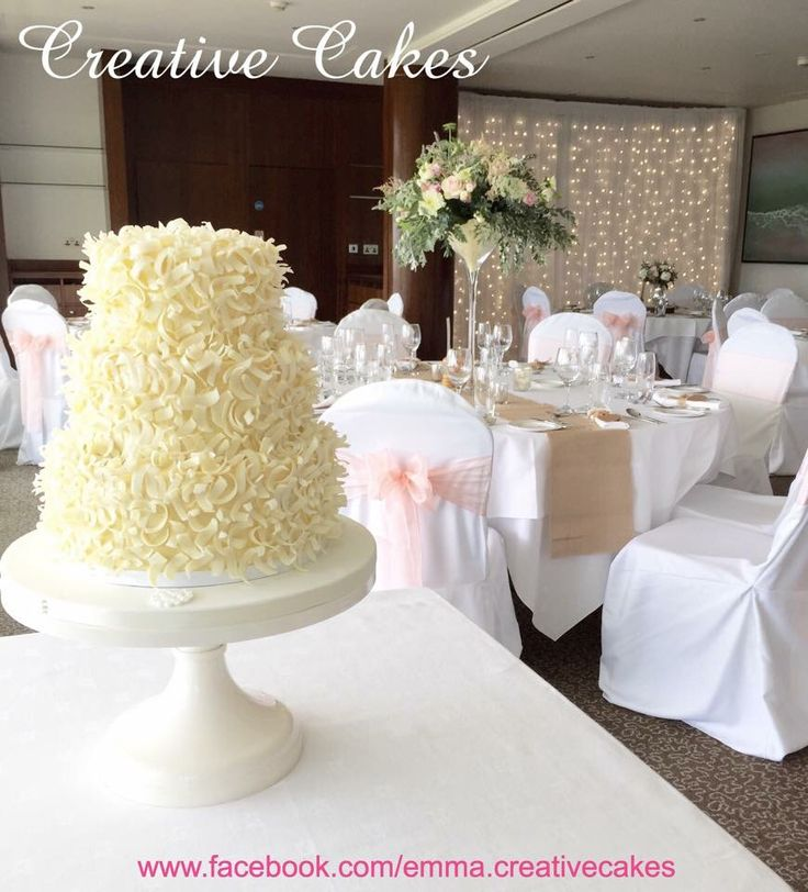 White chocolate wedding cake. Simple and elegant with a bit of rustic charm...