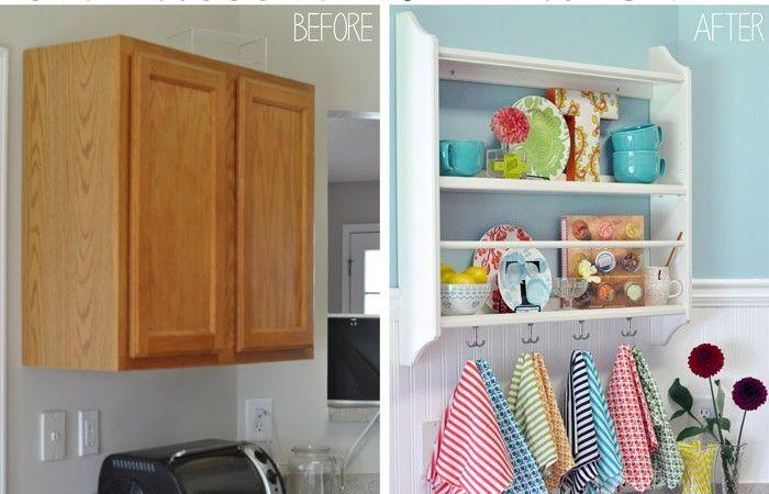I have this shelf I could paint. diy kitchen makeover, blue & white kitchen, glidden paint