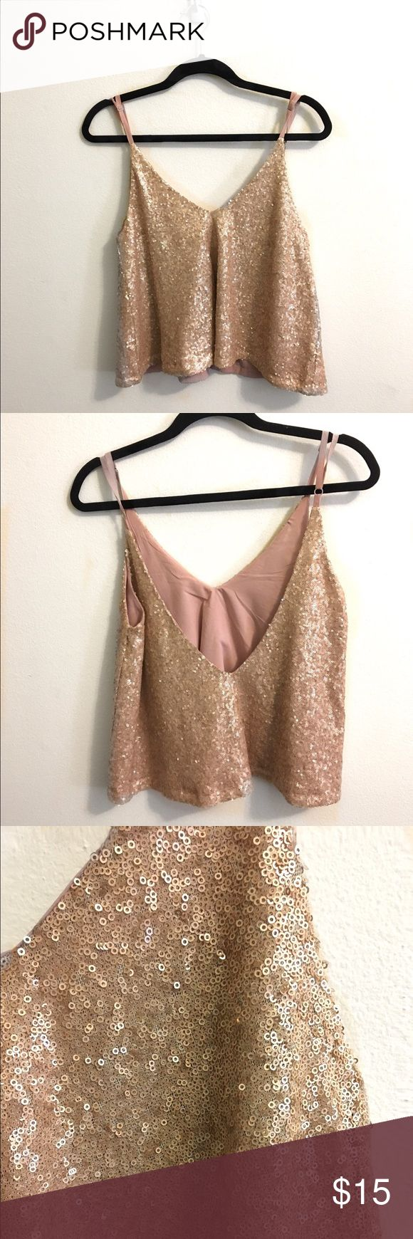 Sparkly Crop Top Only worn once! It is a size small but it has a very nice flow to it. I have a bundle deal! Tobi Tops Crop Tops
