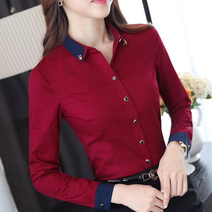 OL de las mujeres elegantes trabajo de la camisa del otoño usan nueva de alta calidad a largo delgado de la manga de las señoras 100% de oficina blusa de algodón más el tamaño tapas formales