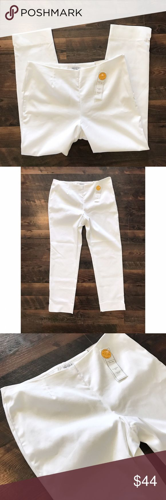 "White Classic Fit Pants Super chic brand new white classic fit pants by Charter Club. They are slightly slimmer than a straight leg, but not quite a skinny.   Size 12 Waist Flat 17"" Inseam 27"" Rise 10.5""  Item Number: L1N90BG Charter Club Pants Straight Leg"