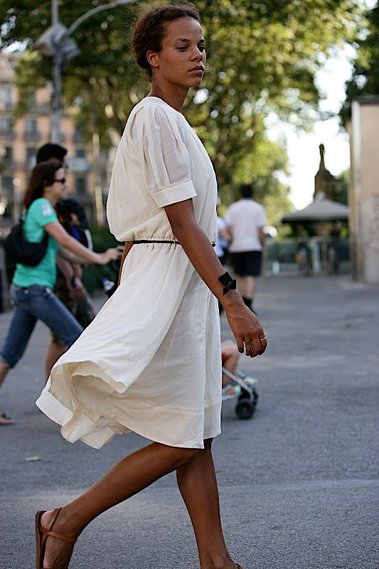 billowy white dress, perfect clean leather sandals