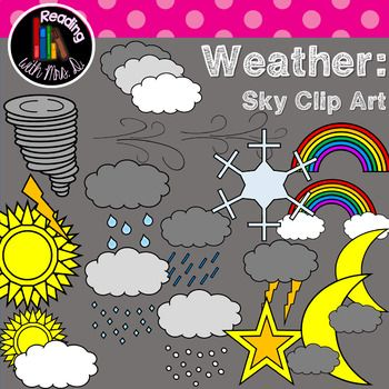 Are you looking for some VERY simple Sky and Weather Clip Art for your next resource? Includes 47 Pieces: Black Cloud Gray Cloud Black freezing rain Gray freezing rain Lightning Bolt Black Lightning cloud Gray Lightning cloud Moon Black Partly cloudy Gray Partly Cloudy White Partly Cloudy Black Partly Sunny Gray Partly Sunny White Partly Sunny Large Black Rain Large Gray Rain Small Black Rain Small Gray Rain Black Sleet GraySleet Rainbow Rainbow with white Clouds Ice Blue Snowflake Black…