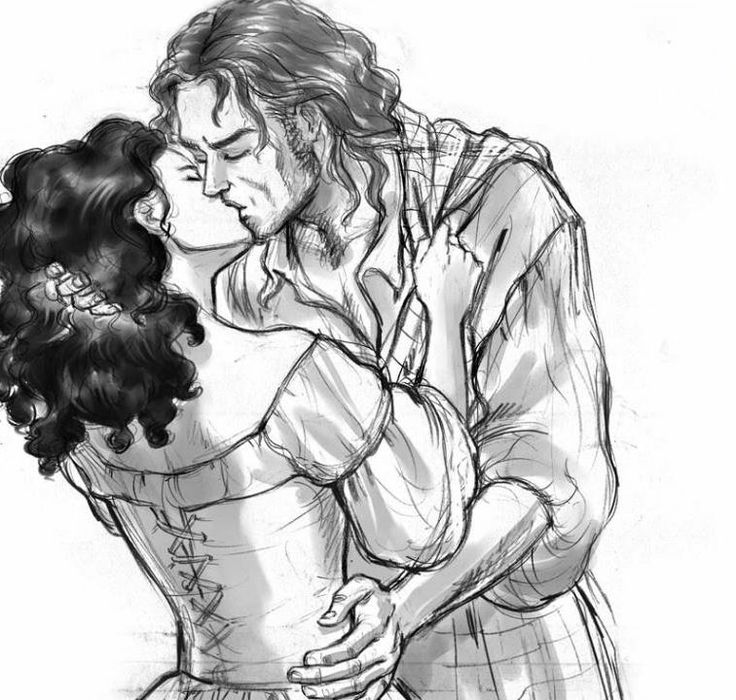 Jamie Fraser and Claire kissing. From Diana Gabaldon's novel Outlander. Illustration by Alex Oliver