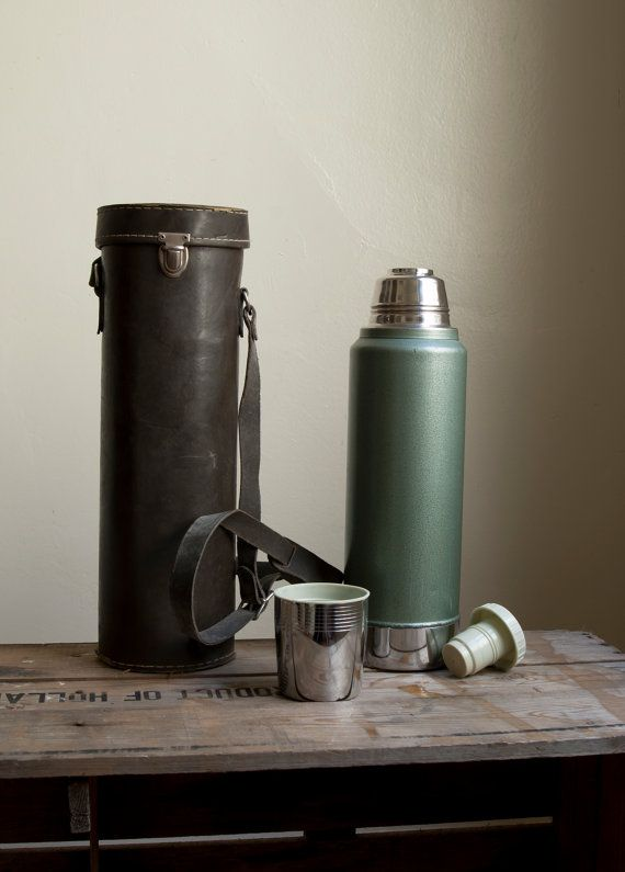 leather thermos holder -- (stanley stainless steel)