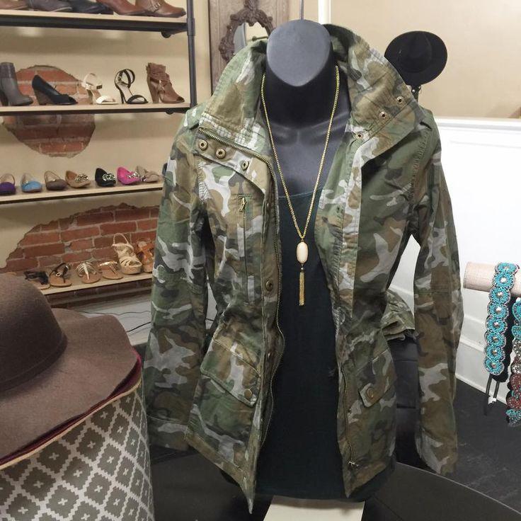 camo utility jacket with waist cinch