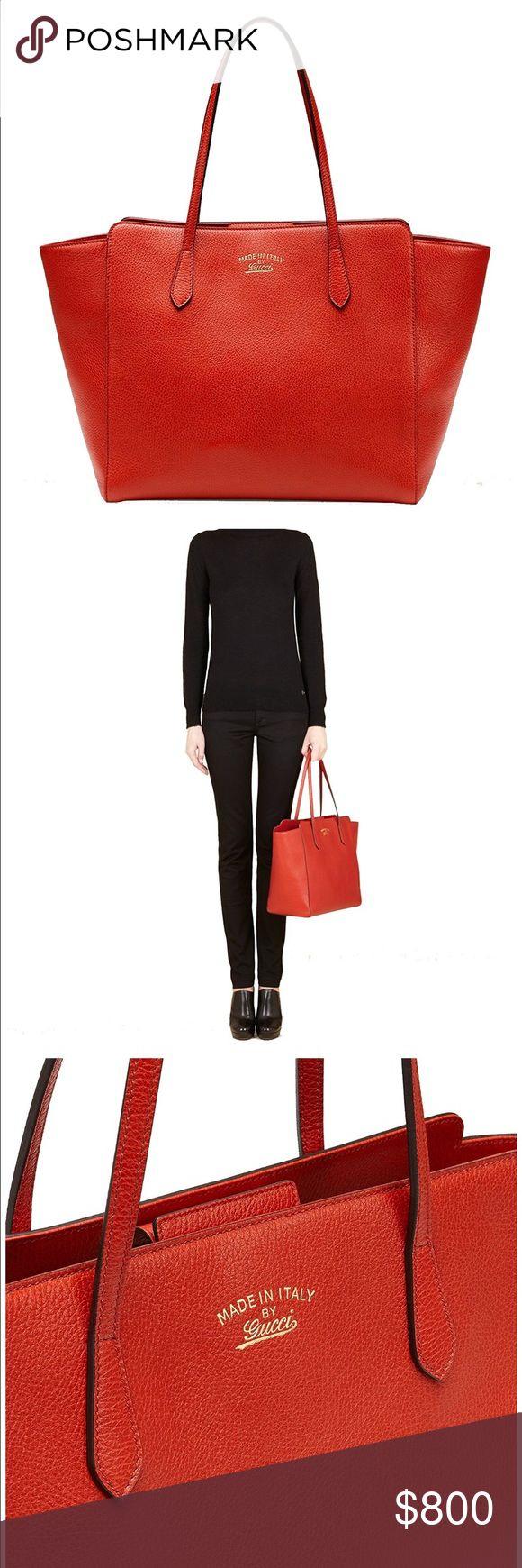 Gucci Swing Red-Orange Tote Bag Brand New, Authentic Gucci Tote Gucci Bags Totes