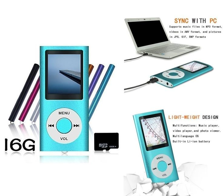 Portable MP4 MP3 Player 16GB Video Media Photo Viewer Voice Recorder Music USB #Tomameri
