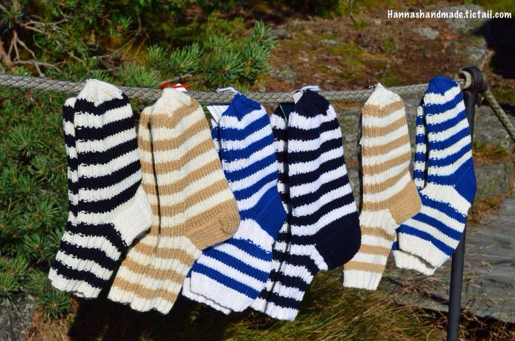 #stripes #hanging #handmade #woolsocks #nature #archipelago