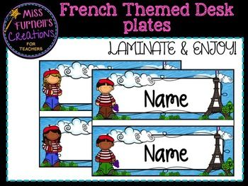 French Themed Desk Name Labels by Miss Furnell's Creations | Teachers Pay Teachers