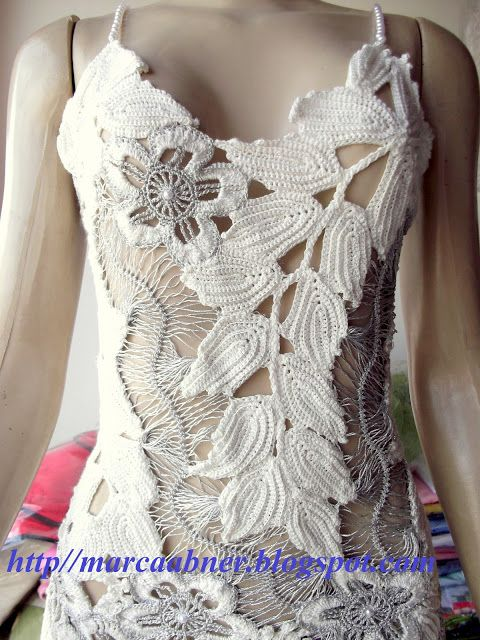 Marcinha crochet: WHITE DRESS AND SILVER IN CROCHET RUSSO