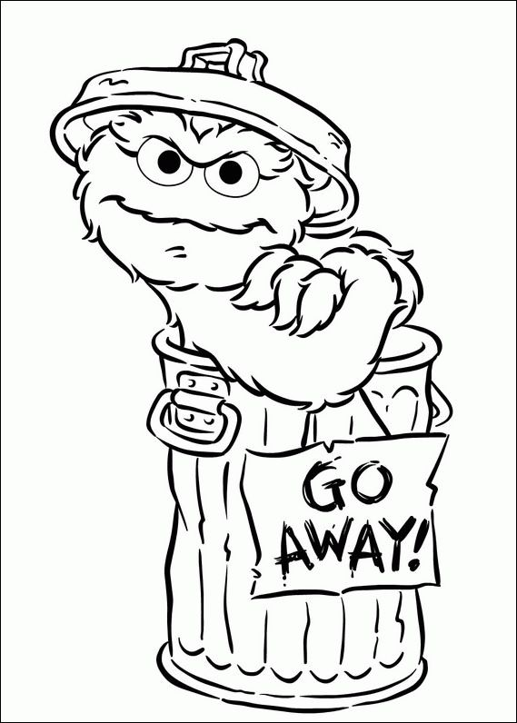 "Coloring page of Oscar and ""Go Away!"" sign."