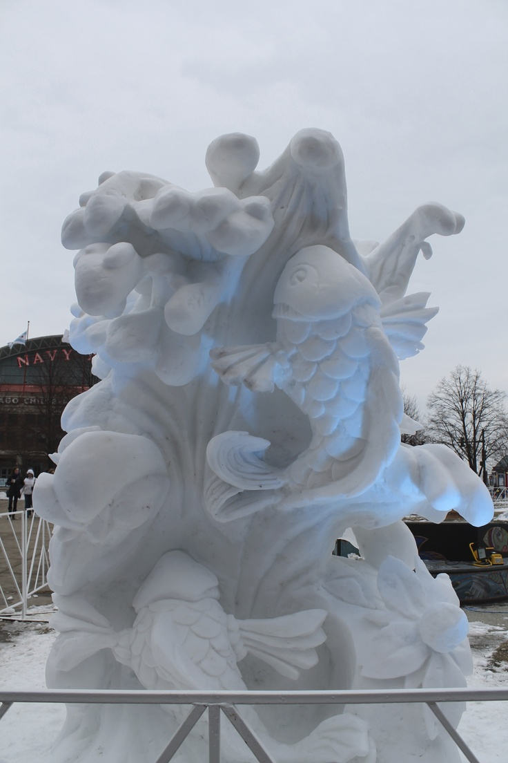 Navy Pier ice sculpting