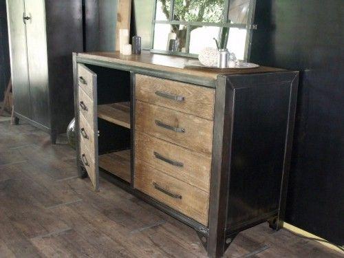 buffet bois, buffet bois métal, meuble industriel, bahut bois métal, rangement bois métal