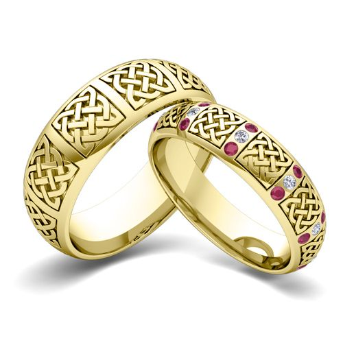 Celtic love knot detailing symbolising everlasting love; diamonds symbolising forever and rubies symbolising passion - can a set of wedding rings get more romantic!?!?! 18k Gold Matching Wedding Bands: Celtic Knot Rings from My Love Wedding Ring