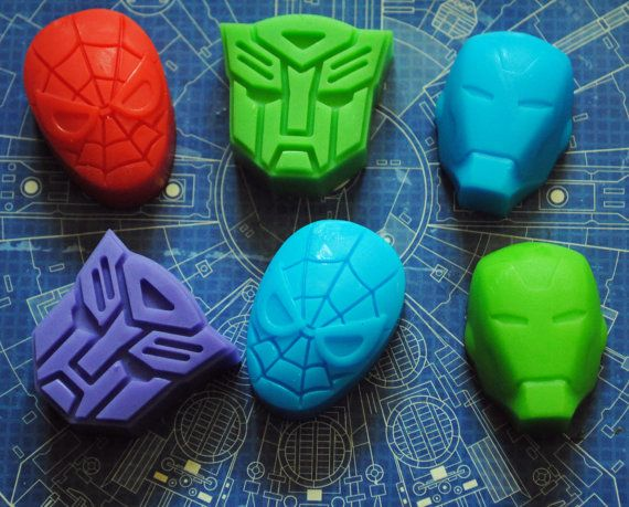 6 x Superhero savon - transformateur, Spiderman, Iron Man
