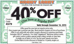 Hobby Lobby, Michael's and Joann's Coupons – Thru 12/14!