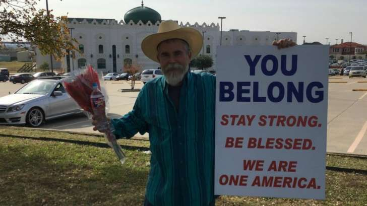 Justin Normand outside the Islamic Center of Irving.