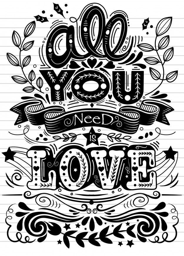 All You Need Is Love Hand Drawn Lettering Vector Vintage