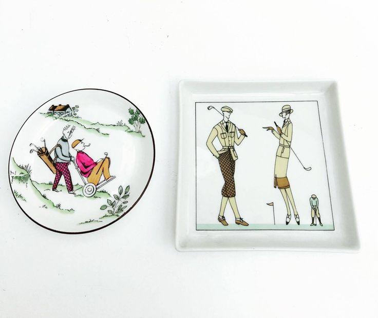 Assiettes  Decoratives de golf, set de 2, Porcelain D'Auteuil Décor JACQUES LOBJOY , 2 assiettes décoratives pour le mur  golfeurs de la boutique VintagechicBruxelles sur Etsy