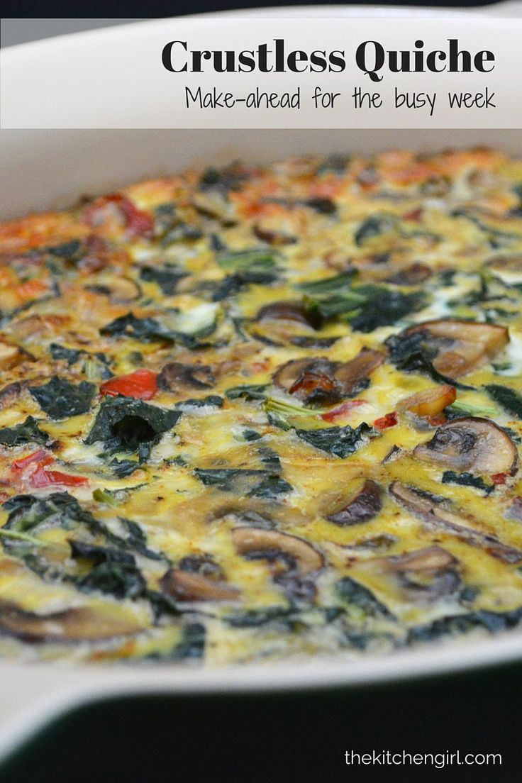 Crustless Quiche: Make on Sunday, pack breakfast or lunch all week. Meatless, lots of veggies, gluten-free, healthy, easy recipe! thekitchengirl.com