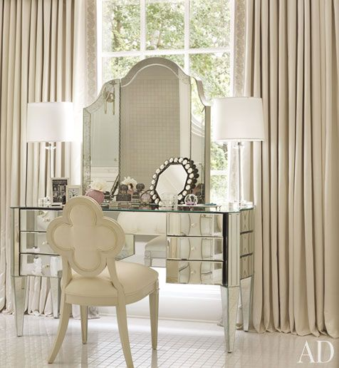 Pure Glamour.  Dressing table by designer, Nancy Corzine and quatrefoil back chair by Suzanne Kasler
