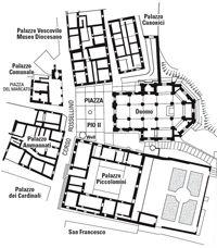 """Pienza (Toscana, Italia) - Mappa Piazza Pio II - Patrimonio Mondiale dell'UNESCO perchè la prima applicazione della concezione umanistico rinascimentale di """"città ideale"""""""