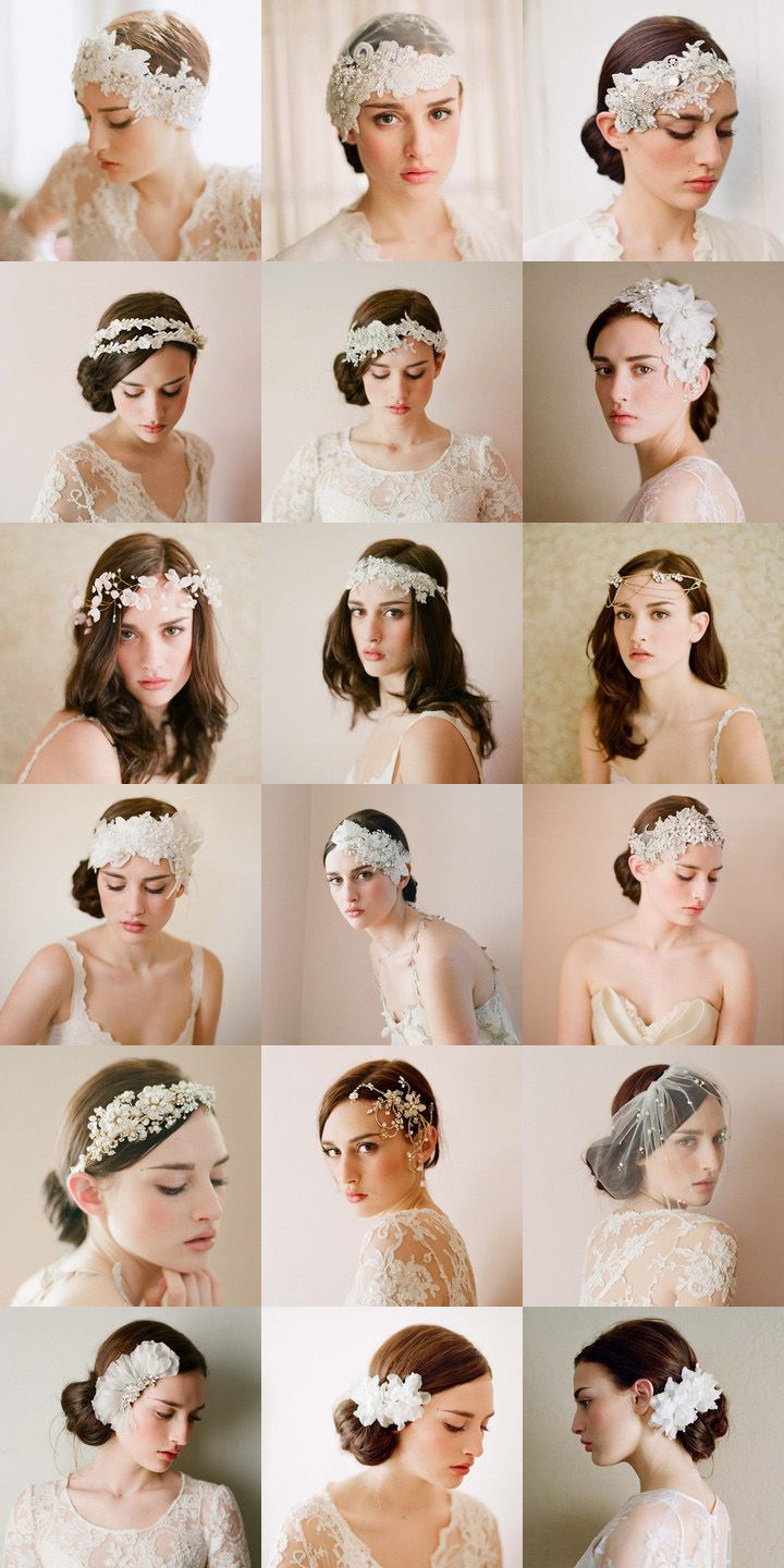 What a beautiful bride headdress, lace + diamond + white, each with a fine to the extreme! ! Source: ++ CustomMade ++