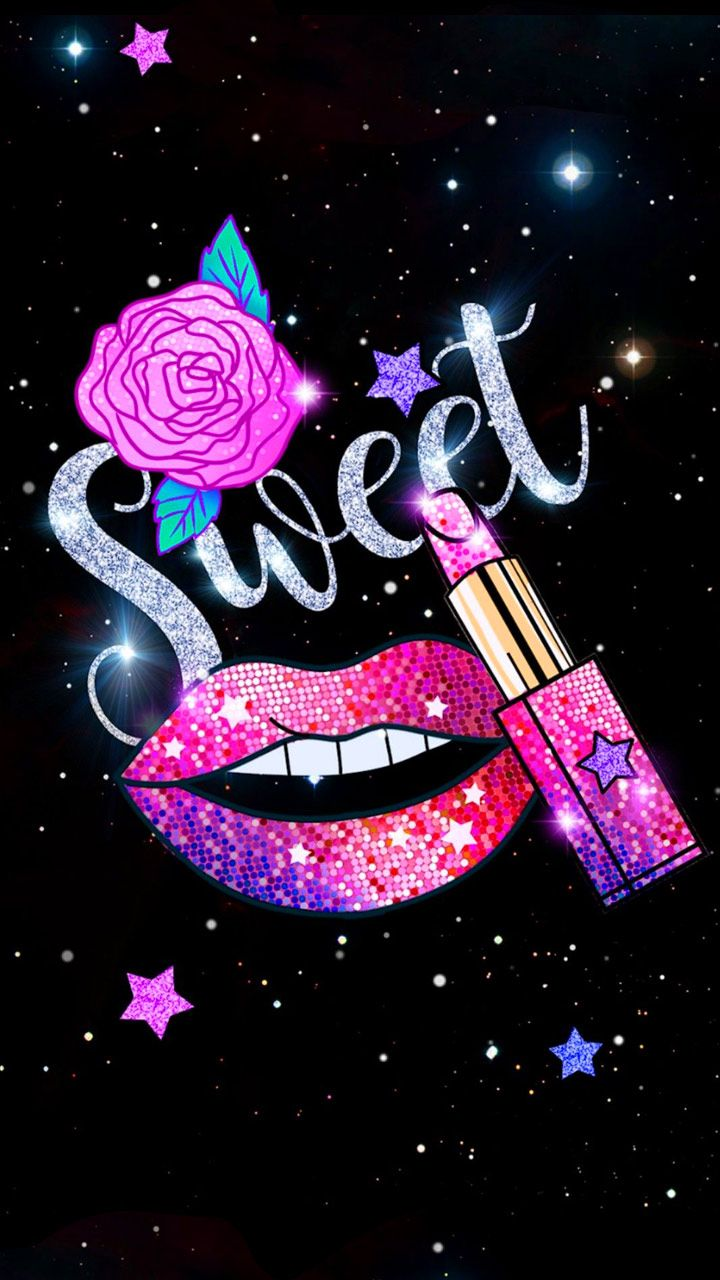 Glitter Sweet Kiss Theme Lip Wallpaper Pink Wallpaper Iphone Wallpaper Iphone Cute