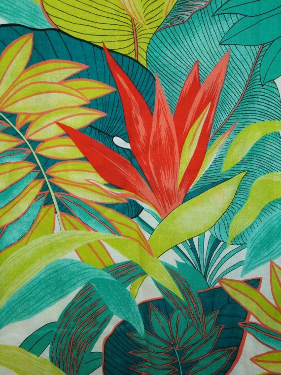 Vintage tropical botanical floral leaves fabric  by by Pensione
