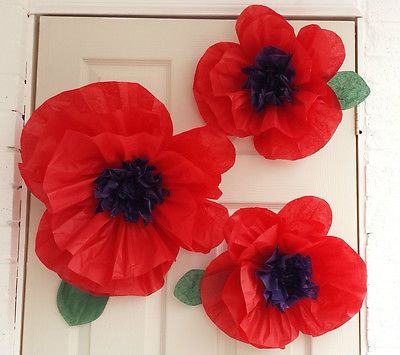 Tissue paper flower 45cm Poppy Venue decorations Wizard of ozz Remembrance day