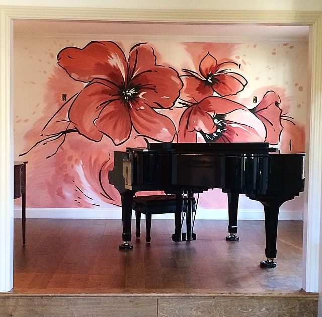 Modern Poppy Floral Mural In A Traditional Cape Cod Music Room By Meme Hill  Studio Using Part 88
