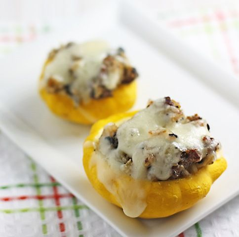 Stuffed Patty Pan Squash--Great way to use up all the white squash! Salt and pepper the inside of the squash right before stuffing. 6/26/13
