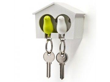 Range porte clés mural duo oiseaux Sparrow Qualy blanc-vert