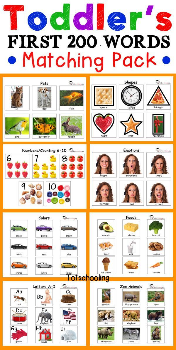 Toddler S First 200 Words Matching Pack Lesson Plans