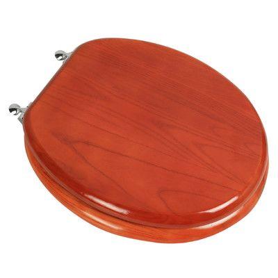 PlumbingTechnologiesLLC Designer Solid Oak Wood Round Toilet Seat Hinge Finish: Antique Brass, Finish: Dark Brown Oak