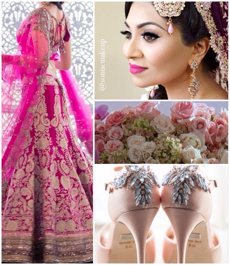 Pink inspiration board, wedding inspiration, Indian bride, Indian wedding, badgley mischka shoes, Karen tran florals, Sonia c makeup www.soniacollection.com, pink lengha
