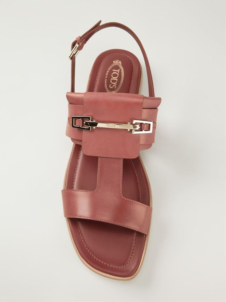 Dark nude leather slingback sandals from Tod's