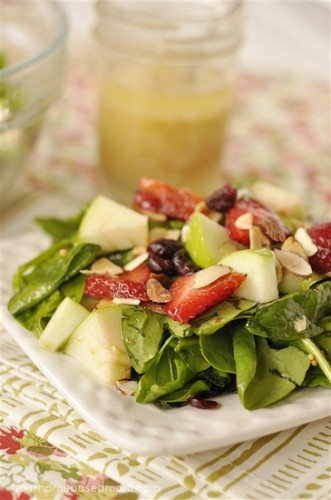 Lemon, Fruit and Spinach Salad: Food Yummy, Yummy Salad, Fruit Recipes, Lemon Fruit, Spinach Salads, Lemon Dresses, Healthy Recipes, Healthy Fruit Salad, Healthy Food