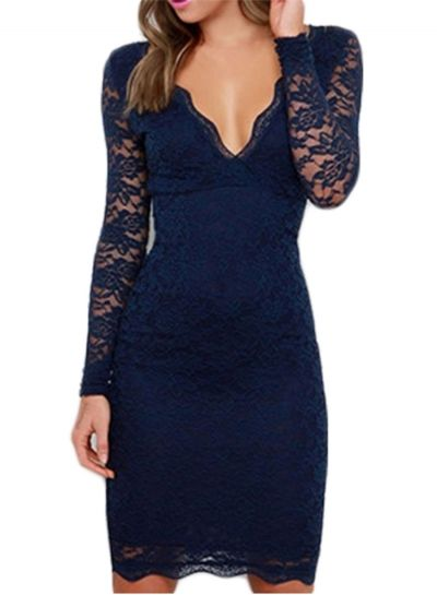 31c4db53ace V Neck Long Sleeve Lace Bodycon Party Dress OASAP.com