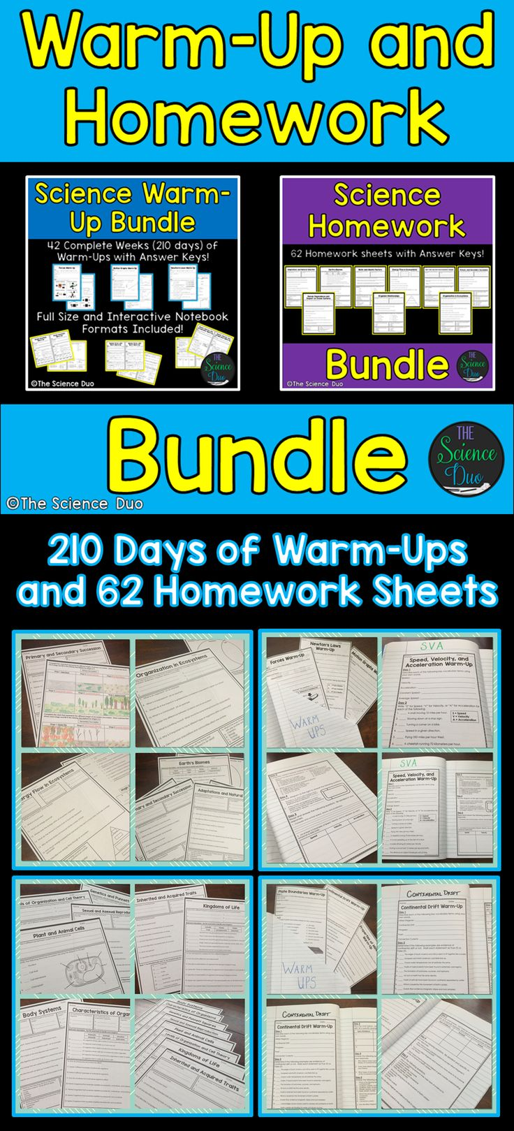 Science Warm-Up and Homework Bundle. This resource contains 210 days (42 weeks) of warm-ups and 62 homework activity sheets.